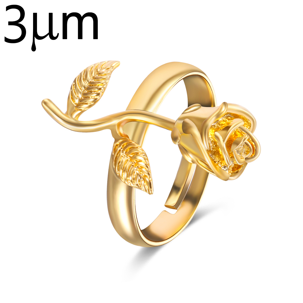 3um Rose Flower Ring Copper Natural Fashion Birthday Jewelry