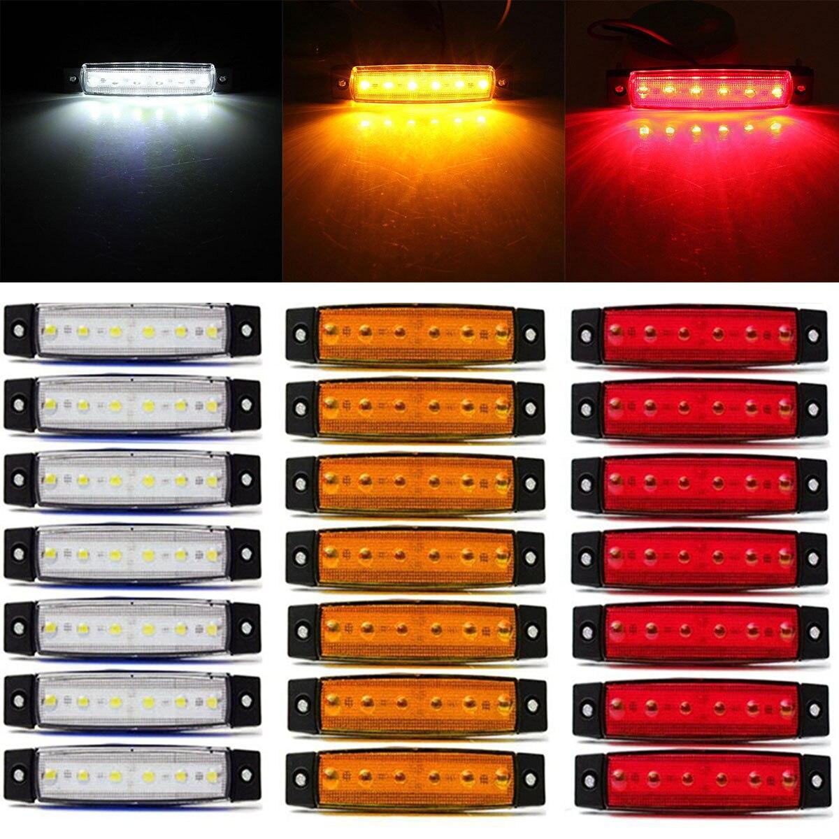30pcs 12V 6LED Truck Trailer Side Marker Indicators Light Lamp White+Red+Amber