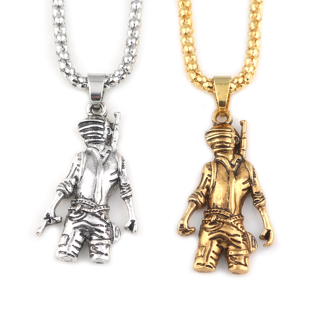 SG New Playerunknowns Battlegrounds Figure Pans Gold Silver Punk Style Necklace PUBG Doll Metal Llavero Figure Men Gift Jewelry