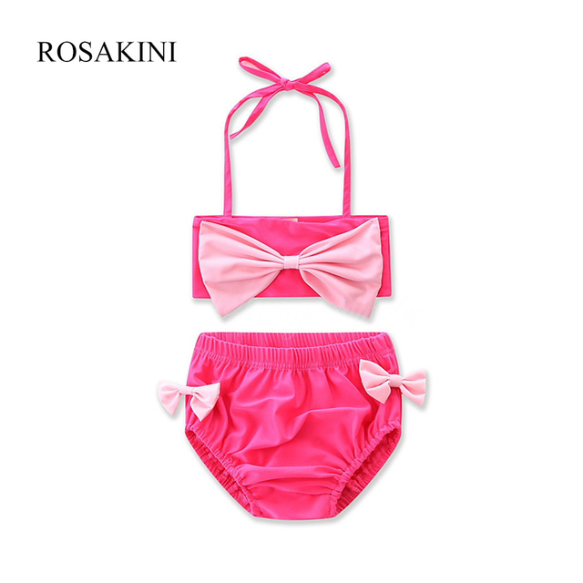 46623464ed0e33 ROSAKINI baby meisje badmode badpak roze kinderen bikini sets kids meisje  Biquini boog peuter swim meisjes