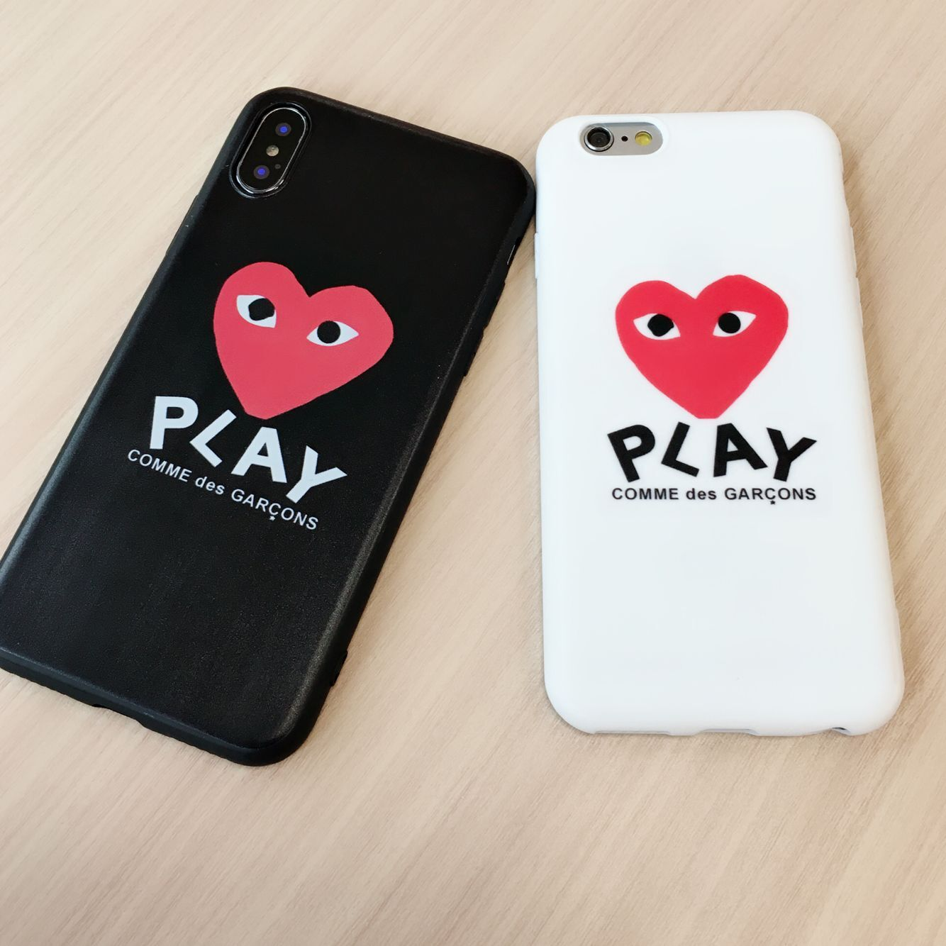 half off 0ae5a 3a7c6 US $2.15 |Japan Comme des GARCONS play phone case for iPhone X XS Max XR 6  6S 7 8 Plus shell for Samsung Galaxy S8 S9 Plus Note 8 9 cover-in Fitted ...