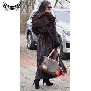 Image 3 - BFFUR 2020 New Arrival Real Mink Fur Coat Winter Warm Outerwear 120cm Long Genuine Mink Fur Jackets With Hood Warm Coats Woman