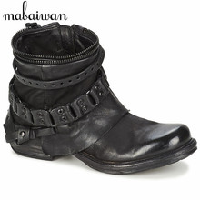 New Fashion Black Purple Women Genuine Leather Ankle Boots Chain Decor Punk Style Motorcycle Booties Flat Botas Militares