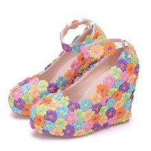 Multicolour Flower Colors Sexy Women Platform Wedges High Heel Shoes Ankle Strap Round Toe Pumps Party Wedding Shoes XY-A0154 цены онлайн