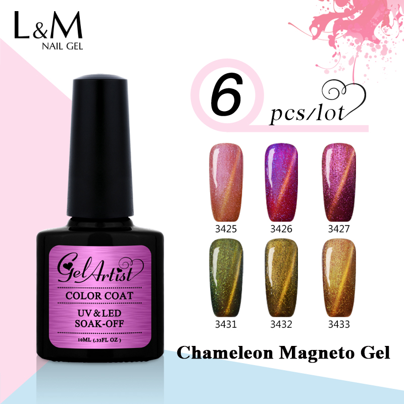 6st Uv Gel Brand Chameleon Magneto Gel Soak Off Gel Lacker 12 färger - Nagel konst