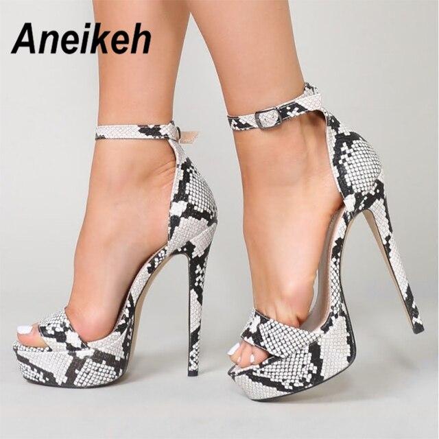 Aneikeh 2019 Serpentine tacones altos sandalias verano Sexy tobillo Correa abierto vestido de fiesta 15,5 CM plataforma gladiador zapatos de mujer