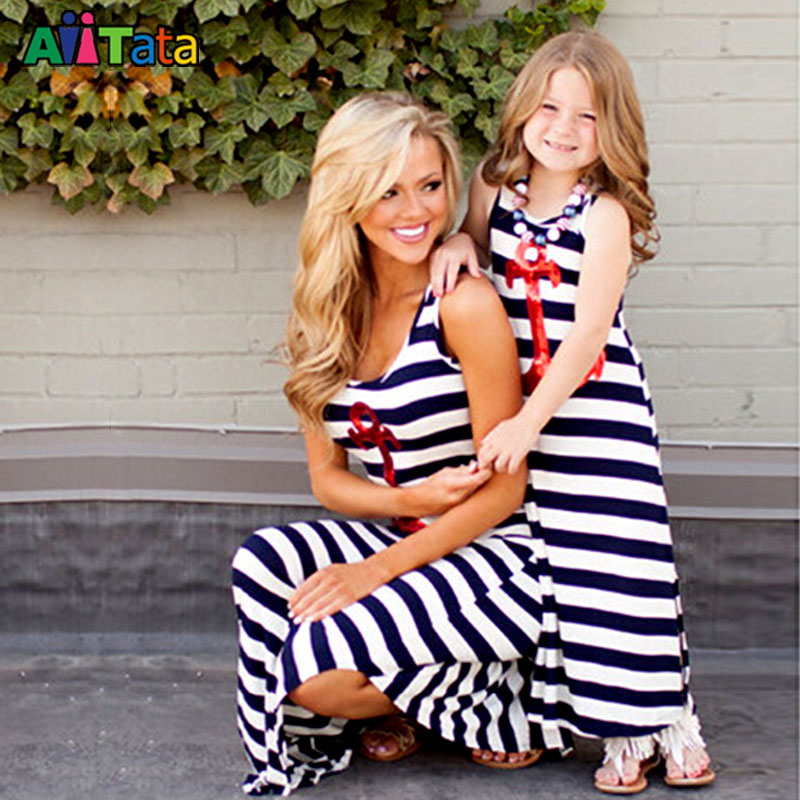 MVUPP Mother Daughter Dresses Family Look Clothing Striped Maxi Mommy And Me Costume Matching Outfits Mama Baby Gril Clothes