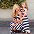 Mother Daughter Dresses Fashion Sleeveless Striped Family Look Matching Clothes Family Clothing ship's anchor mommy and me dress