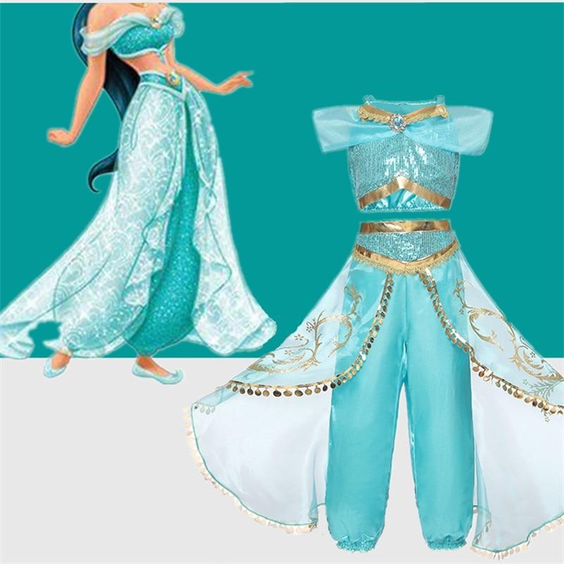 4-10T Fancy Baby Girl Princess Jasmine Clothes Kids Halloween Party Cosplay Costume Children Elsa Anna Dress Vestidos Infantil