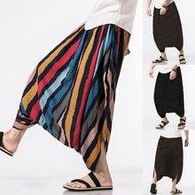 Summer Big Crotch Baggy Men's Pants Strip Print Design Cotton Ankle-Length Elastic Waist Casual Trousers Harem Hip Hop 2018