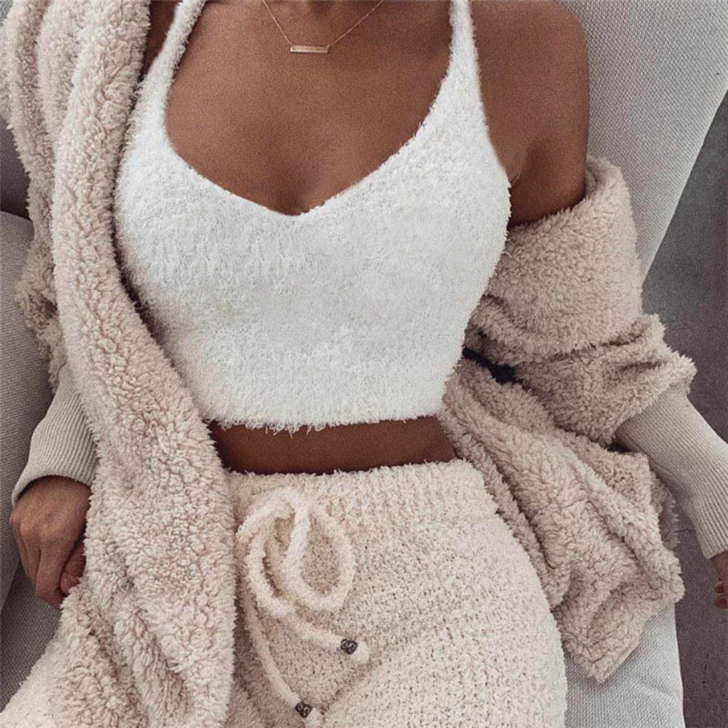 Модный женский Повседневный тонкий плюшевый топ с v-образным вырезом без рукавов, короткий жилет, сексуальный однотонный уличная рубашка, Одноцветный укороченный топ, популярный жилет