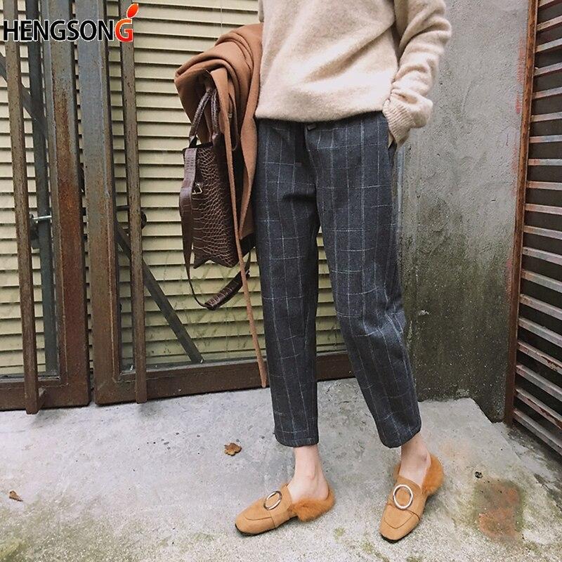 HENGSONG 2018 Harajuku Plaid Harem Pants Elastic Girls Waist Bodycon Trousers Fashion Korean Nine pants Pantalon Femme