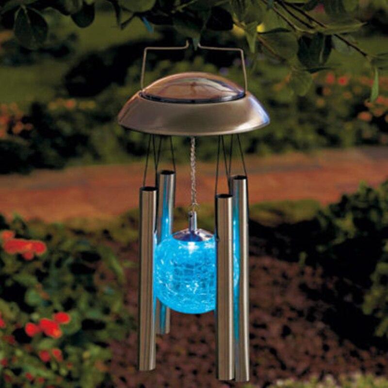 windbell forma luces solares de cambios de colores luz solar wind chimes campanula chandelier colgante nightlight