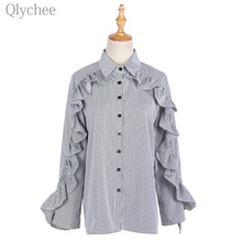 Qlychee Lapel Women Striped Blouse Ruffle Sleeve Turn Down Collar Single Breasted Female Shirt Long Sleeve Loose Women Shirt