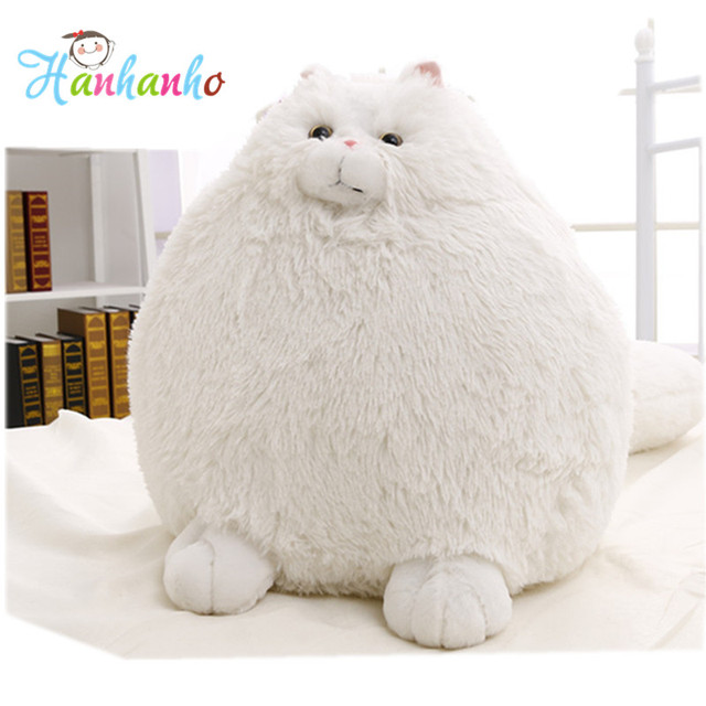 Super Fluffy Fat White Persian Cat Plush Toy Round Stuffed Animal