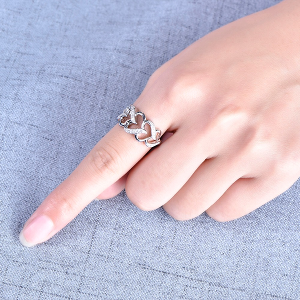 YL Real Pure Silver Heart Love 925 Sterling Silver Engagement Rings ...