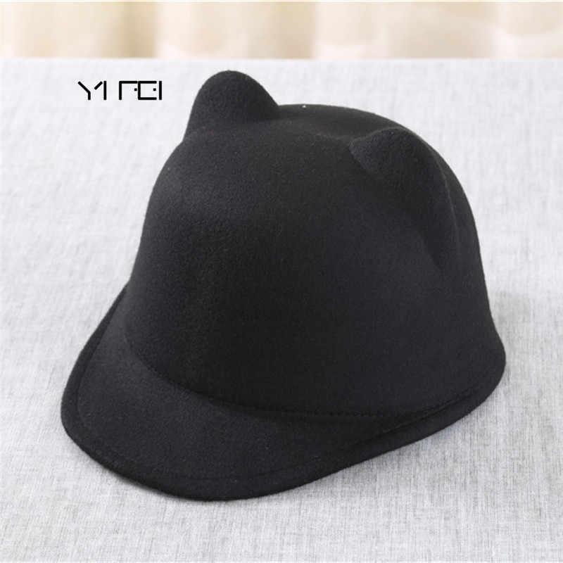 Binicilik yün şapka kız kap Vintage sıcak güneşlikli kep karakter yenilik çocuklar sihirli şapka hayvan kedi kulak çocuk kış şapka