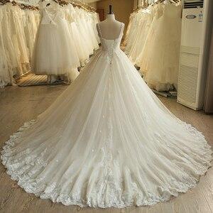 Image 3 - SL 023 urocze Sweetheart aplikacja z koronki Vintage perły koraliki pas suknia ślubna suknia ślubna vestido de novia princesa