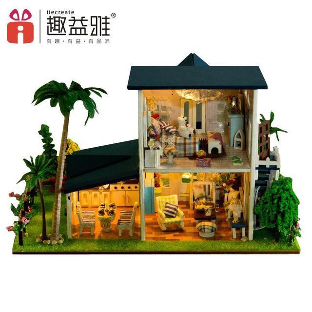 Doll house furniture miniatura diy doll houses miniature dollhouse wooden handmade toys for children birthday gift  13015