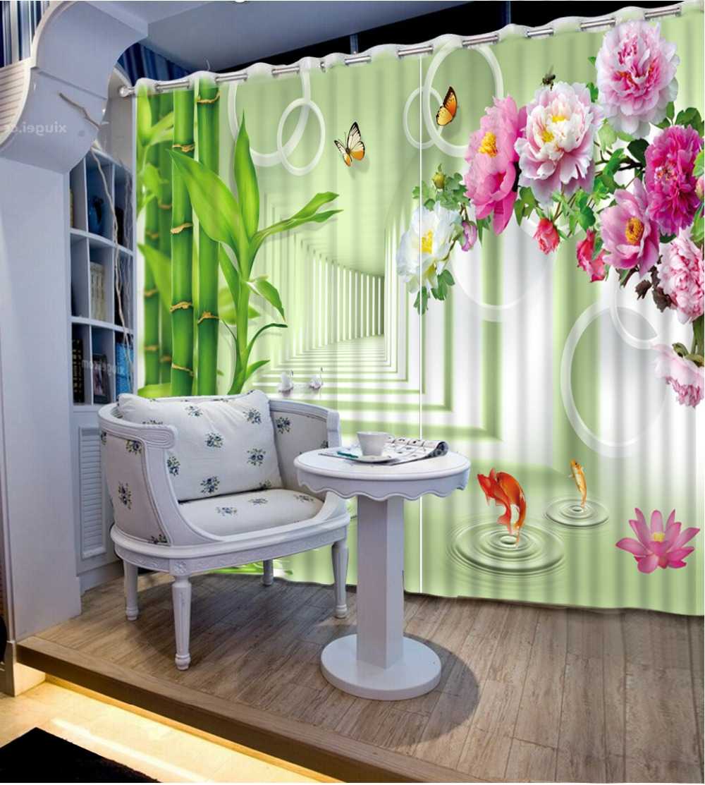 custom 3d curtains in the living room Creative Lotus Butterfly 3d stereoscopic window curtains for kitchenCL DLM817