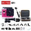Estilo gopro hero 4 f60 câmera esporte wi-fi 4 k ação câmera de Mergulho Capacete ir pro Extrema Mini Cam À Prova D' Água Com monopé + Saco