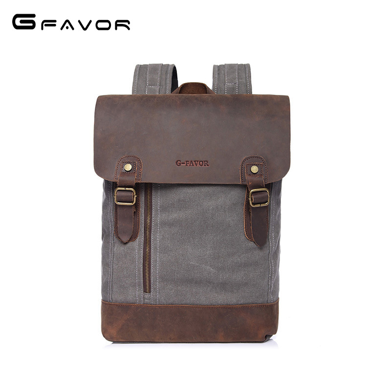 Vintage Canvas Backpack Men Travel Shoulder Bag 2018 Fashion Student Bag High Quality Laptop Backpack Cowhide Casual School Bag naruto write round eyes backpack fashion casual backpack teenagers men women s student school bags travel laptop bag