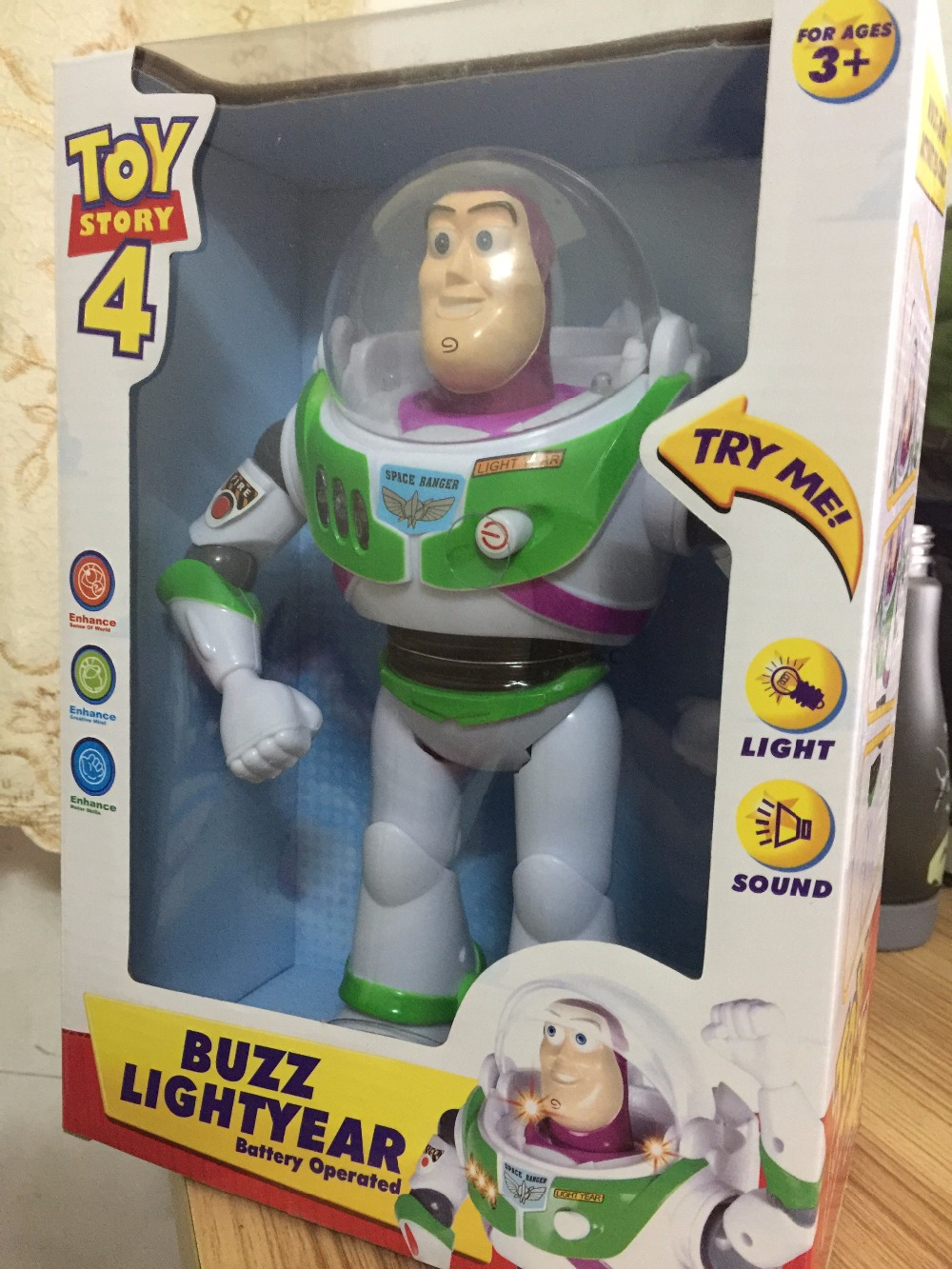 Toy Story anime 10 inch Buzz Lightyear figure Toys Lights Voices Speak English Joint movable Action Figures Children Gift anime figure toy story 3 buzz lightyear and woody doll led alarm clock color touch light movie figurines toys for boys gift