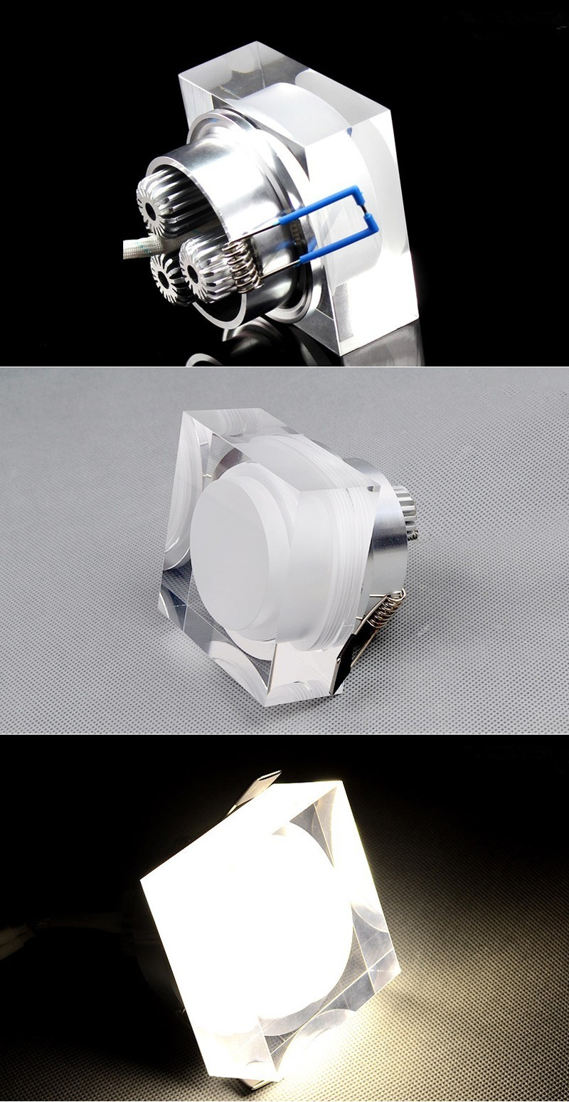 SquareRound  ceiling lamp Crystal LED Downlight 1W3W5W9W  LED Ceiling Lamp Corridor Lights AC110V220V LED Spot Light (10)