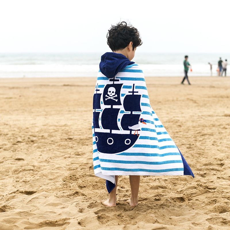 Childrens cartoon bath towels Childrens lengthened thick cotton beach towel Children can wear hooded towels