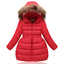 Collar Coat Down Jacket Children's Clothing White duck down new year  A lively girl dressed Down Jacket  in park Happy to play