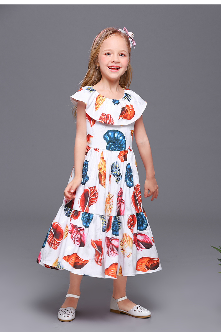 Summer family matching clothes white conch sleeveless kids mother clothing baby girl holiday dress mother daughter beach dresses