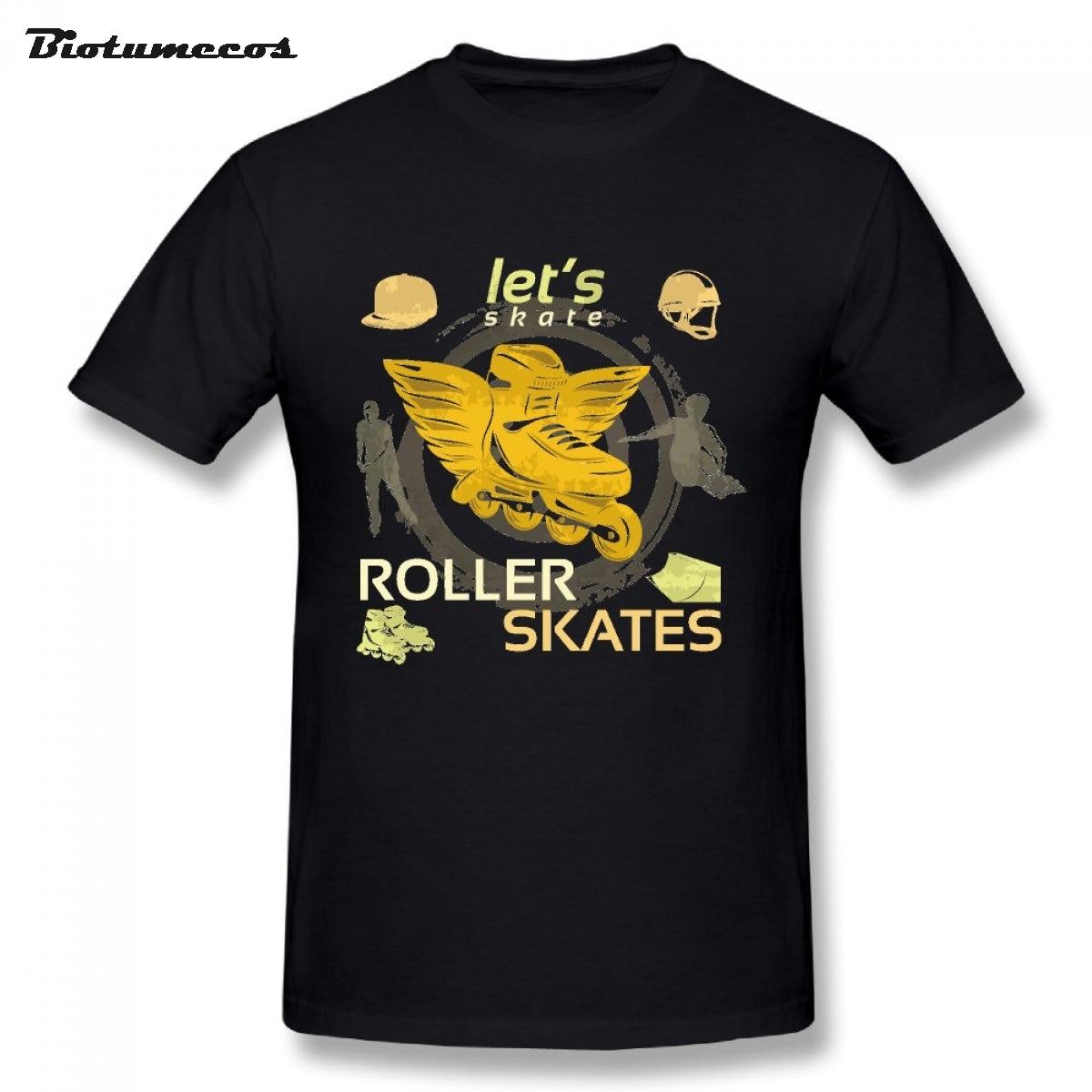 Roller skates for plus size - Plus Size Men T Shirt Let S Roller Skates Short Sleeve O Neck 100 Cotton Tees Shirt Top Clothing Mty115