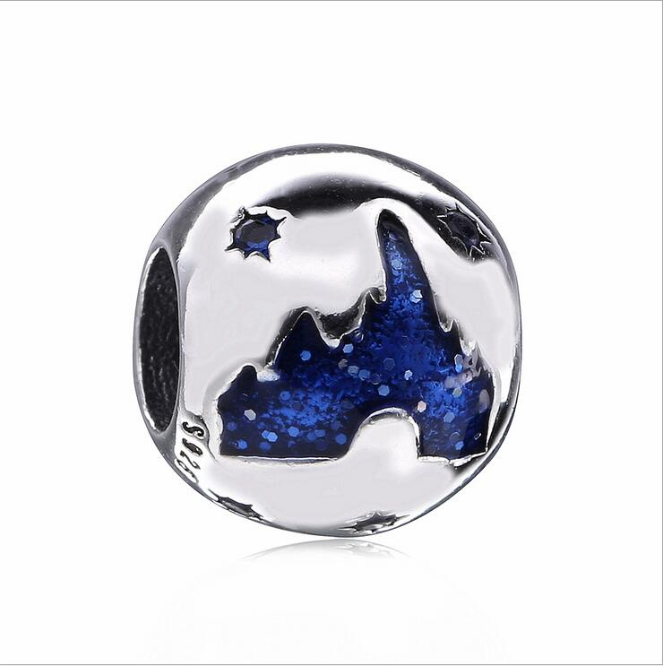 Authentic 925 Sterling Silver Round beads enamel iceberg pattern star DIY accessorie Fits Pandora Bracelets DIY Jewelry making