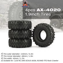 4 Pcs AUSTAR AX-4020 1.9 Inch 110mm Rubber 1/10 Rock Crawler Tires Tyre for D90 SCX10 AXIAL RC4WD TF