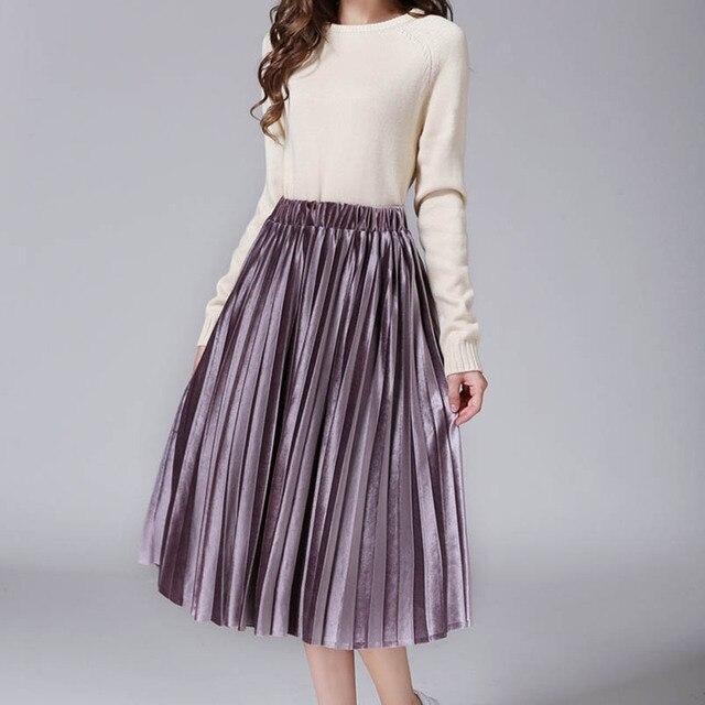 05534c377a2 Anasunmoon Women Pleated Skirts 2017 Bling Bling Glitter Gold Flared High  Waist Tutu Party Ladies Spring Summer Midi Skirt Black