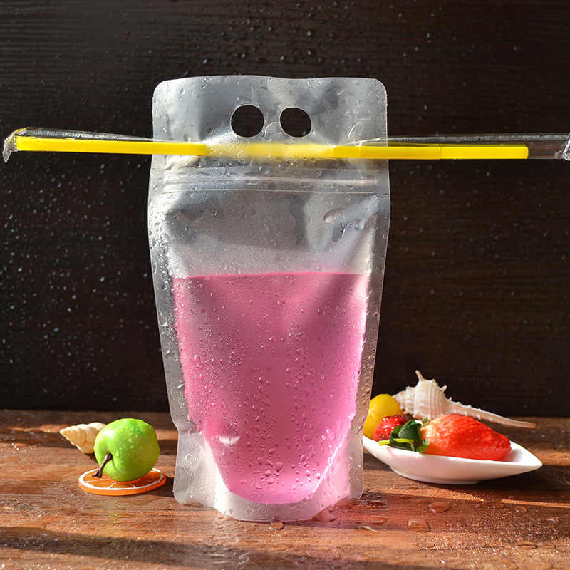 Fruit juice bag Food grade plastic bags with Hole Handle Drink packing bags 12.5*21 13*23 blank Printable 100pcs