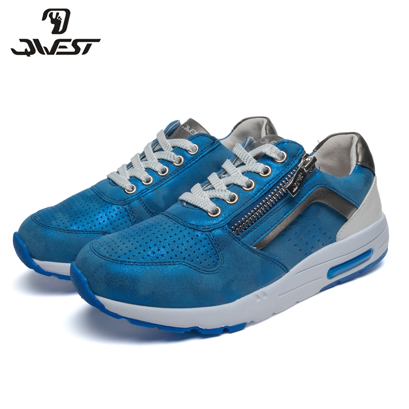 QWEST Brand Breathable Arch ZIP TPR& Lace-Up Children Sport Shoes Leather Size 32-37 Kids Sneaker For Boy 91P-XC-1347