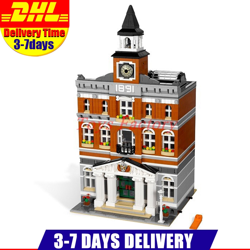 2018 DHL LEPIN 15003 2859 PCS City Town Hall Sets Model Building Kits Set Blocks Children Toys Compatible With 10224 1130 enlighten city series town hall model building blocks city hall classic action figure toys for children compatible legoe
