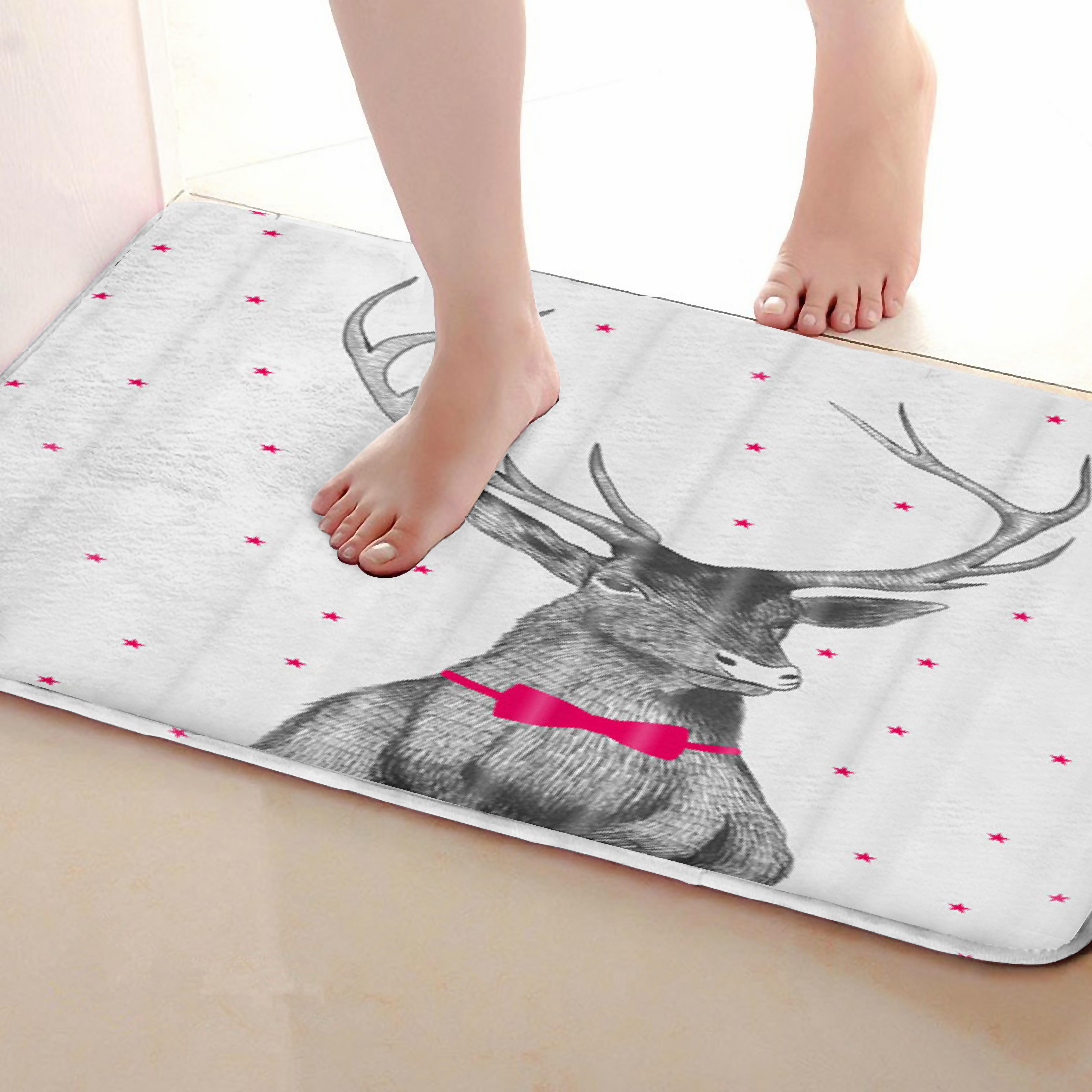 Deer Style Bathroom Mat,Funny Anti Skid Bath Mat,Shower Curtains Accessories,Matching Your Shower Curtain
