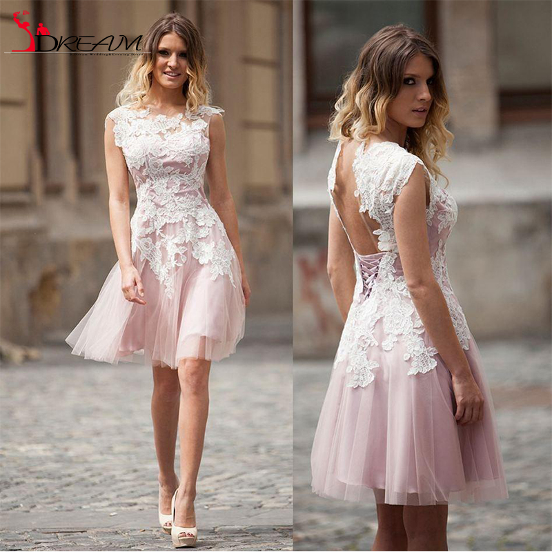New A line Pink Tulle Lace Homecoming font b Dresses b font Bateau Neck Sleeveless Lace