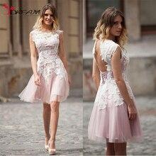 Neue Eine linie Rosa Tüll Homecoming Kleider Bateau Neck Sleeveless Lace up Knielangen Cocktailkleider Hochzeitsgast Kleider