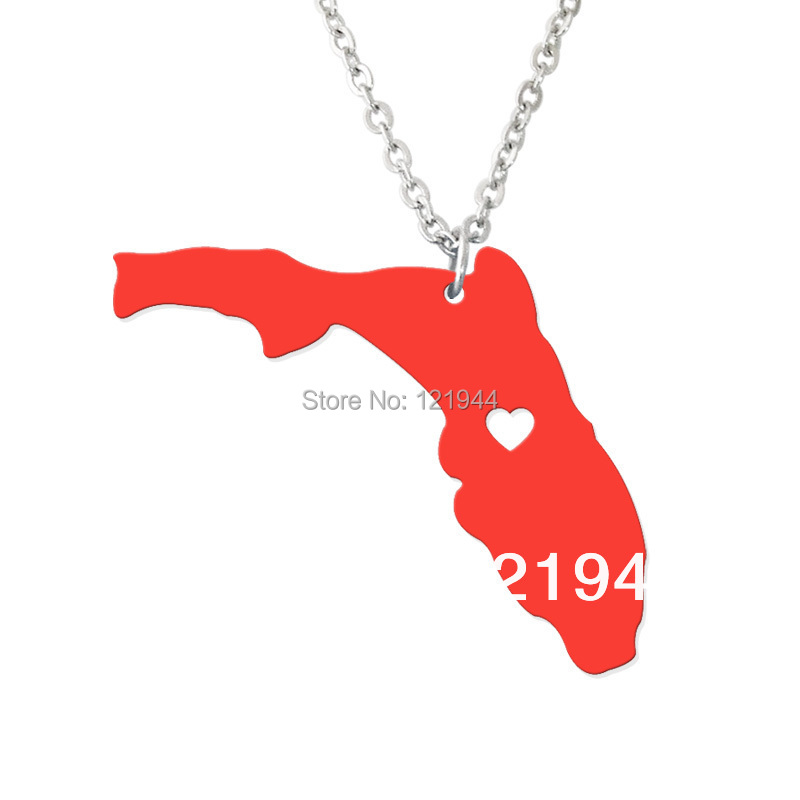 I love Florida necklace - map pendant state jewelry personalized gift
