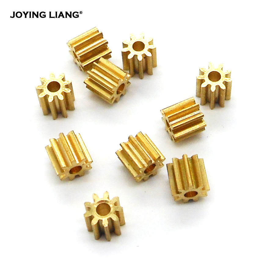 92A 0.5M Copper Gear 9 Teeth 1.95mm (2mm Tight) Steering Gear UAV Model Toy Accessories Technology Class DIY Model Parts 10PCS