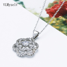 Real 925 Sterling Silver Pendant Flower Necklace Lovely Jewelry Zircon stones Wonderful Suspension Jewellery