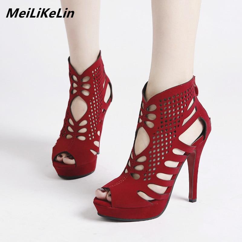 52b08bb0ea42 MeiLiKeLin Fine Hollow Peep Toe Ankle Boots Summer Women Red Platform Boots  Shoes Rome Style High. US  23.78. DiJiGirls Sexy high heels women pumps ...