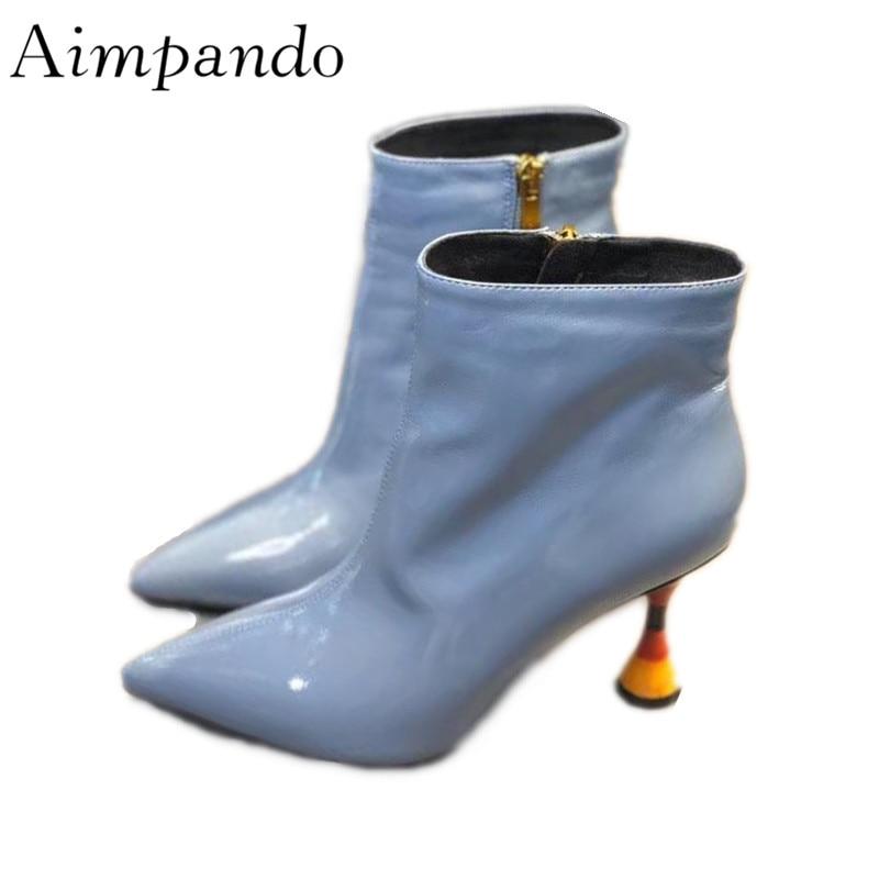 цена Concise Ankle Boots Women New Autumn Winter Pointed Toe Side Zip Shiny Patent Leather Colorful Strange Heel Short Boots онлайн в 2017 году