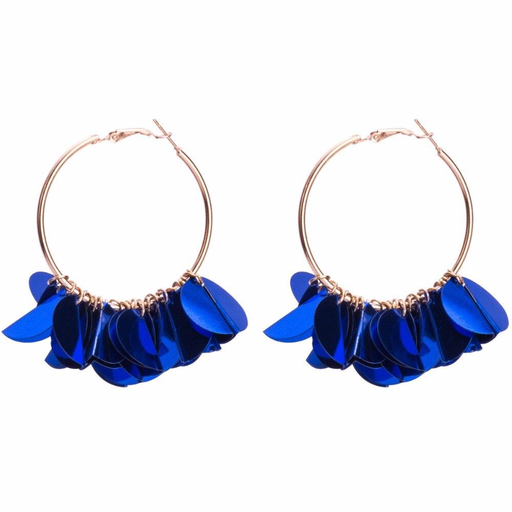 Qiaose Colorful Multi Sequin Hoop Earrings for Women Fashion Jewelry Boho  Maxi Collection Earrings Accessories -in Hoop Earrings from Jewelry    Accessories ... 286cfd4aa7f0