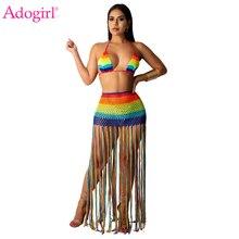 Adogirl Rainbow Hand Crochet Beach Two Piece Set Dress Halter Swimwear Bra Top Tassel Maxi Skirt Hollow Out Bohemian Dresses