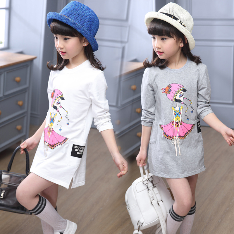 Kids casual letter print dress girls dress baby girl clothes Fashion Long Sleeve Ruffles cartoon Children clothing t-shirt Dress
