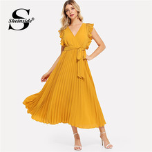 Sheinside Elegant High Waist Pleated Chiffon Dress Women 2019 Solid A Line Party Dresses Summer Casual V Neck Wrap Belted Dress(China)